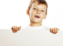 Little cute boy holding empty shit to copyspace isolated close u Royalty Free Stock Photo