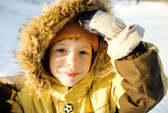 Little cute boy in hood Stock Photos