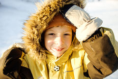 Little cute boy in hood Royalty Free Stock Photo