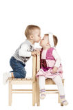 Little cute boy kissing a girl Royalty Free Stock Photos