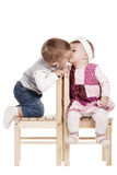 Little cute boy kissing a girl Royalty Free Stock Photo