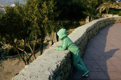 Little cute boy looking away at sea viewpoint in Ataturk park Royalty Free Stock Photos