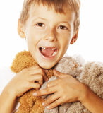 Little cute boy with many teddy bears hugging Royalty Free Stock Photos