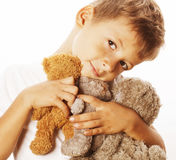 Little cute boy with many teddy bears hugging isolated close up Stock Photography