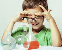Little cute boy with medicine glass isolated Royalty Free Stock Images