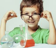 Little cute boy with medicine glass  Stock Photo