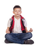 Little cute boy meditating Royalty Free Stock Images