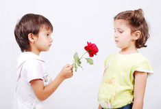 A little cute boy is offering a rose to little gir Stock Photos