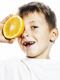 Little cute boy with orange fruit double isolated on white smili Royalty Free Stock Images