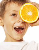 Little cute boy with orange fruit double isolated Royalty Free Stock Photo
