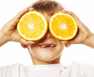 Little cute boy with orange fruit double isolated Royalty Free Stock Image