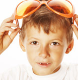 Little cute boy in orange sunglasses pointing  close up part of face Stock Photography