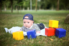 Little cute boy playing with blocks in summer park Stock Photos