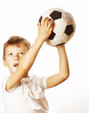 Little cute boy playing football ball isolated Stock Photo