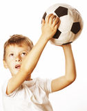 Little cute boy playing football ball isolated Stock Photos