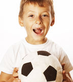 Little cute boy playing football ball isolated on white close up catching moove Stock Photo
