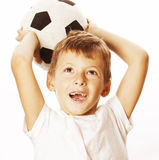Little cute boy playing football ball isolated on white close up catching moove Stock Photos