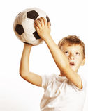 Little cute boy playing football ball isolated on white close up catching moove Royalty Free Stock Photography
