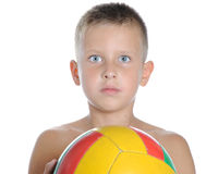 Little cute boy playing football ball isolated Royalty Free Stock Photography