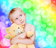 Little cute boy portrait with teddy bear Stock Image