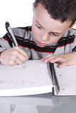 Little Cute Boy Practicing His Writing Skills Stock Image