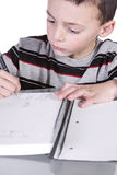 Little Cute Boy Practicing His Writing Skills Royalty Free Stock Photography