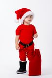 Little cute boy with Santa hat Royalty Free Stock Image