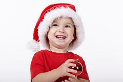Little cute boy with Santa hat Stock Image
