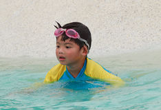 Little cute boy in swimming pool Stock Image