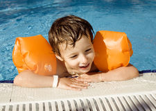 Little cute boy in swimming pool Royalty Free Stock Photography
