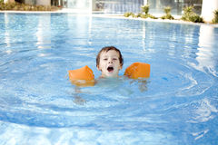 Little cute boy in swimming pool Royalty Free Stock Images