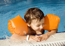 Little cute boy in swimming pool Royalty Free Stock Image