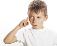Little cute boy thinking gesture isolated on white Stock Image