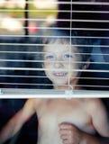 Little cute boy throught window Stock Photos