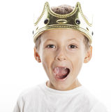 Little cute boy wearing crown isolated close up Royalty Free Stock Photo