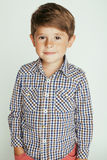 Little cute boy on white background gesture Stock Image