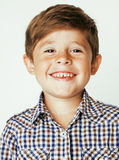 Little cute boy on white background gesture Stock Photos