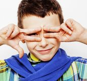 Little cute boy on white background gesture tumbs up smiling clo Royalty Free Stock Photo