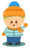 Little Cute Boy With Winter Clothes Isolated Vector Illustration Design Royalty Free Stock Images