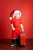 Little Cute Boy With Red Suitcase Royalty Free Stock Photos