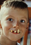 Little cute boy 6 years old with french fries Stock Photos