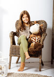 Little cute brunette girl at home interior happy smiling close u. P, lifestyle real people concept stock image