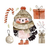 Little cute bullfinch with winter hat and scarf Stock Images