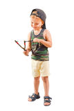 Little cute bully with a slingshot Stock Image