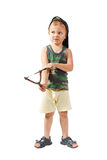 Little cute bully with a slingshot Stock Photography