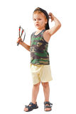 Little cute bully with a slingshot stock photos