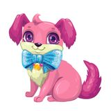 Little cute cartoon fluffy puppy. Pretty dog girl, vector isolated icon royalty free illustration