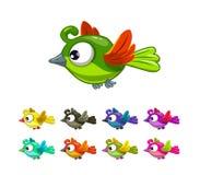 Little cute cartoon flying birds set Stock Photo