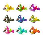 Little cute cartoon flying birds set Royalty Free Stock Photography