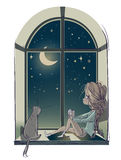 Little cute cartoon girl with cat Stock Photography